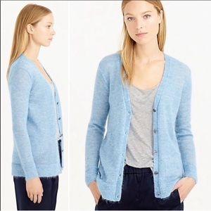 J Crew light blue mohair cardigan sweater M
